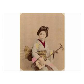 Vintage Japanse Geisha die Shamisen spelen Briefkaart