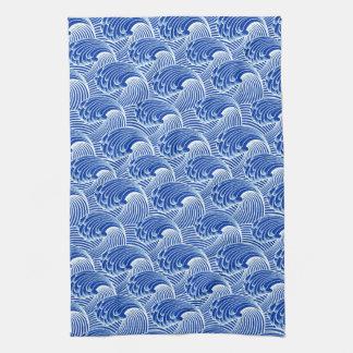 Vintage Japanse Golven, het Blauw van het Kobalt Theedoek