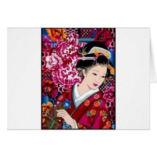 Vintage Japanse Vrouw in Kimono Kaart