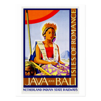 Vintage Java en Bali Indonesië door Spoorwegen Briefkaart