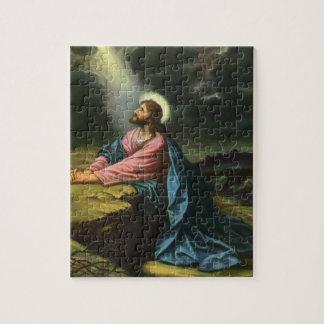 Vintage Jesus-Christus die in Gethsemane bidt Foto Puzzels