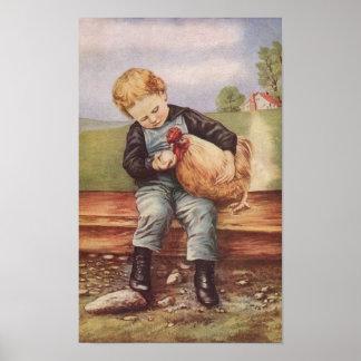 Vintage Jongen en Zijn Kip van het Huisdier Poster
