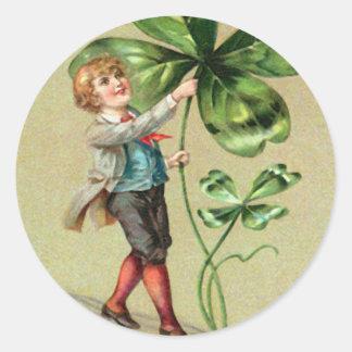 Vintage Jongen Vier St Patrick van de Klaver van Ronde Stickers