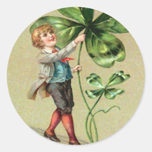 Vintage Jongen Vier St Patrick van de Klaver van Ronde Sticker