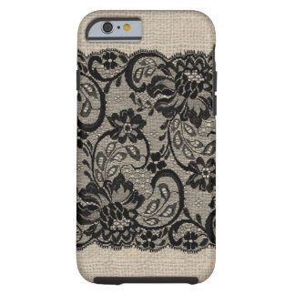 Vintage Jute & Zwarte iPhone 6 van het Kant geval Tough iPhone 6 Case