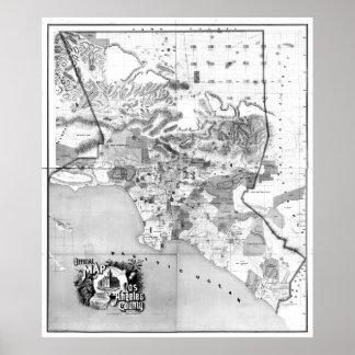Vintage Kaart de Provincie CA (1888) BW van van Poster