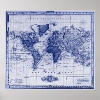 Vintage Kaart van 1833) Wit & het Blauw het van de Poster