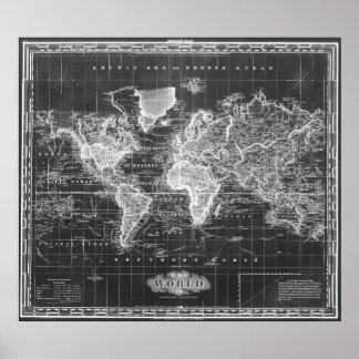 Vintage Kaart van 1833) Zwarte & het Wit de van de Poster