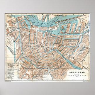 Vintage Kaart van Amsterdam (1905) Poster