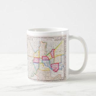 Vintage Kaart van Baltimore Van de binnenstad Koffiemok