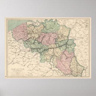 Vintage Kaart van België (1873) Poster