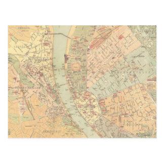 Vintage Kaart van Boedapest Hongarije (1884) Briefkaart