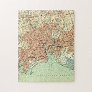 Vintage Kaart van Bridgeport Connecticut (1951) 2 Puzzel