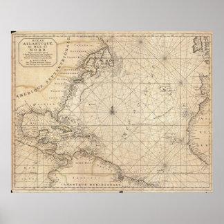 Vintage Kaart van de Atlantische Oceaan (1683) Poster
