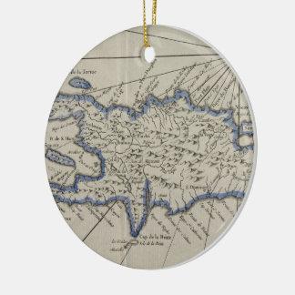 Vintage Kaart van de Dominicaanse Republiek (1750) Rond Keramisch Ornament