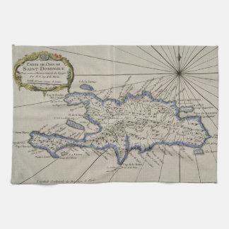 Vintage Kaart van de Dominicaanse Republiek (1750) Theedoek
