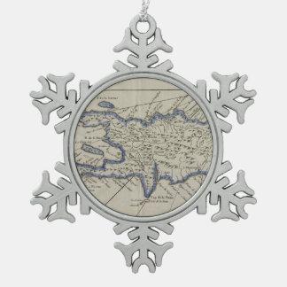 Vintage Kaart van de Dominicaanse Republiek (1750) Tin Sneeuwvlok Ornament