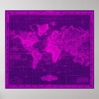 Vintage Kaart van de Paars & Roze Wereld (1833) Poster