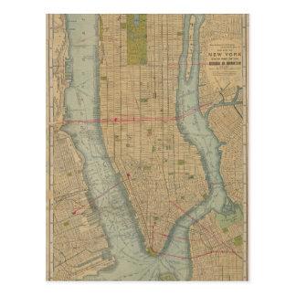Vintage Kaart van de Stad Manhattan van New York