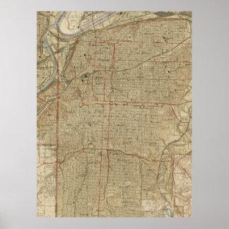 Vintage Kaart van de Stad Missouri van Kansas Poster