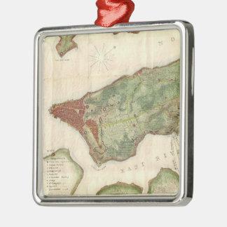 Vintage Kaart van de Stad van New York (1878) Zilverkleurig Vierkant Ornament