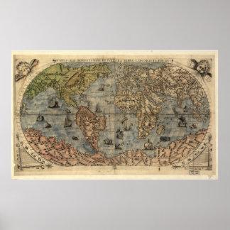 Wereldkaart posters wereldkaart afdrukken kunst wereldkaart afdrukken - Vintage bank thuis van de wereld ...