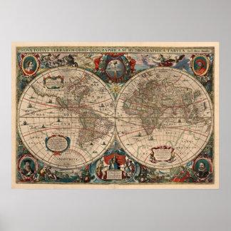 Vintage Kaart van de Wereld (1641) Poster