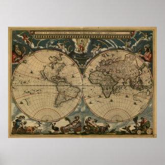 Vintage Kaart van de Wereld (1664) Poster