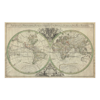 Vintage Kaart van de Wereld (1691) Poster