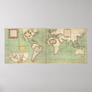 Vintage Kaart van de Wereld (1702) Poster
