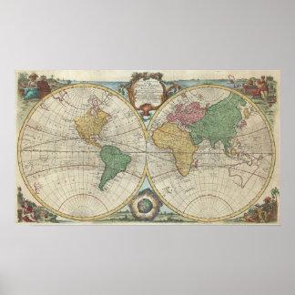 Vintage Kaart van de Wereld (1744) Poster