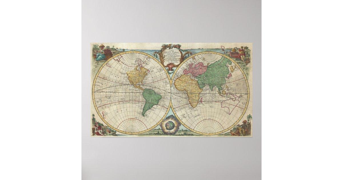 Vintage kaart van de wereld 1744 poster - Vintage bank thuis van de wereld ...