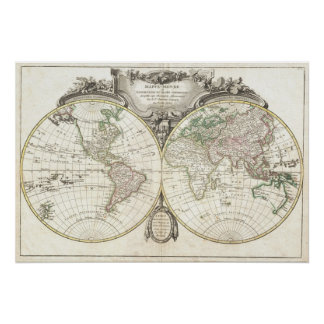 Vintage Kaart van de Wereld (1775) Poster