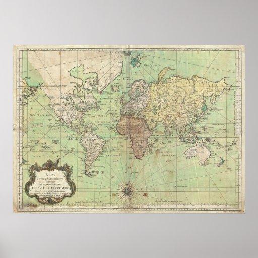 Vintage kaart van de wereld 1778 afdruk zazzle - Vintage bank thuis van de wereld ...