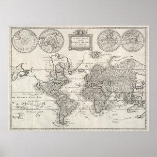 Vintage Kaart van de Wereld (1786) Poster