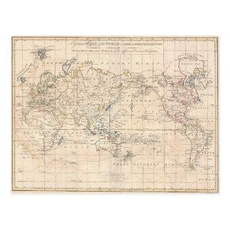 Vintage Kaart van de Wereld (1799) Briefkaart