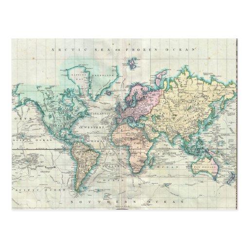 Vintage kaart van de wereld 1801 briefkaart zazzle - Vintage bank thuis van de wereld ...
