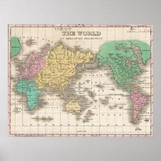 Vintage Kaart van de Wereld (1827) Poster