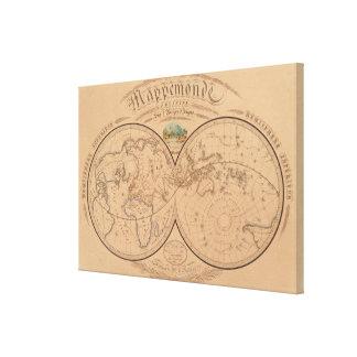 Wereldkaart canvas afdrukken wereldkaart wrapped canvas afdrukken - Vintage bank thuis van de wereld ...