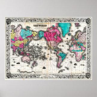 Vintage Kaart van de Wereld (1852) - Gestileerd Poster