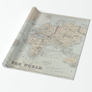 Kaart van de wereld cadeaupapier - Vintage bank thuis van de wereld ...