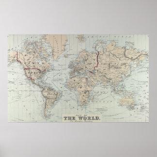 Vintage Kaart van de Wereld (1875) Poster