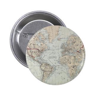 Vintage Kaart van de Wereld (1875) Ronde Button 5,7 Cm