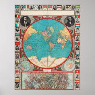 Vintage Kaart van de Wereld (1913) Poster