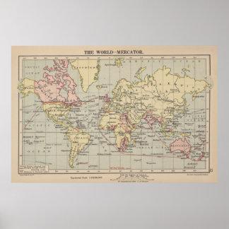 Vintage Kaart van de Wereld (1914) Poster