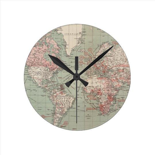 Vintage kaart van de wereld 1918 ronde klok medium zazzle - Vintage bank thuis van de wereld ...