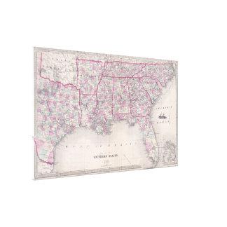Vintage Kaart van de Zuidelijke Verenigde Staten Gallerij Wrapped Canvas