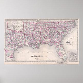 Vintage Kaart van de Zuidelijke Verenigde Staten Poster