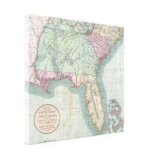 Vintage Kaart van de Zuidoostelijke V.S. (1806) Canvas Prints
