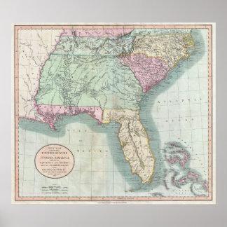 Vintage Kaart van de Zuidoostelijke V.S. (1806) Poster